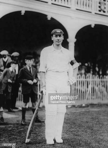 English cricketer Jack Hobbs wearing a black armband July 1920