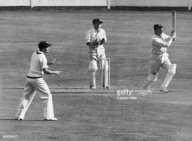 English cricketer Jim Laker during his innings of 43 for Surrey against Australia at The Oval London 17th May 1956