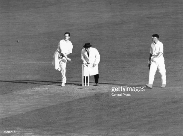 English cricketer Jim Laker playing for England against South Africa at the Oval cricket ground London