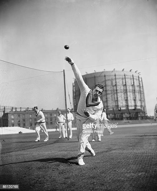 English cricketer Peter Loader of Surrey at bowling practice in the nets at The Oval London 17th April 1957