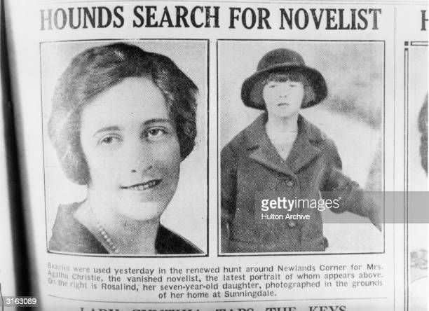 English crime writer Agatha Christie and her daughter Rosalind are featured in a newspaper article reporting the mysterious disappearance of the...