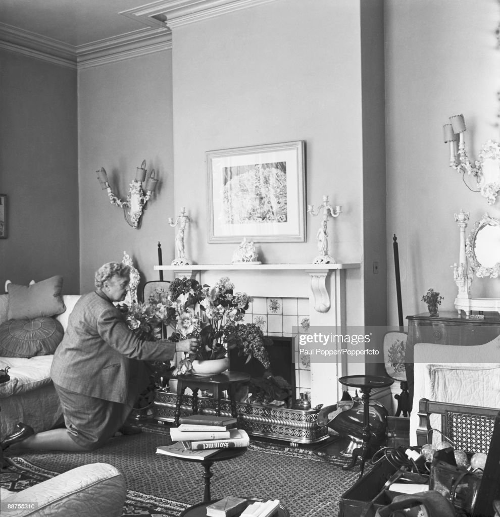 English crime writer Agatha Christie (1890-1976) at her home, Winterbrook House, Wallingford, Berkshire (now in Oxfordshire), 1950.