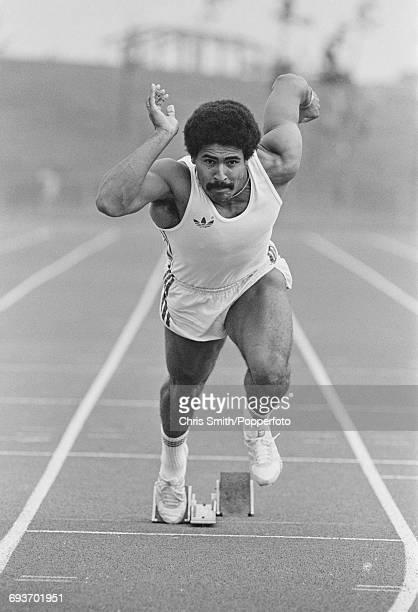 English decathlete Daley Thompson pictured in sprint training from starting blocks on an athletics track in England in September 1981 Daley Thompson...