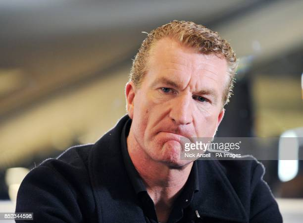 English Defence League cofounder Kevin Carroll during a press conference at the Montague Hotel central London as he announces that he is to stand...