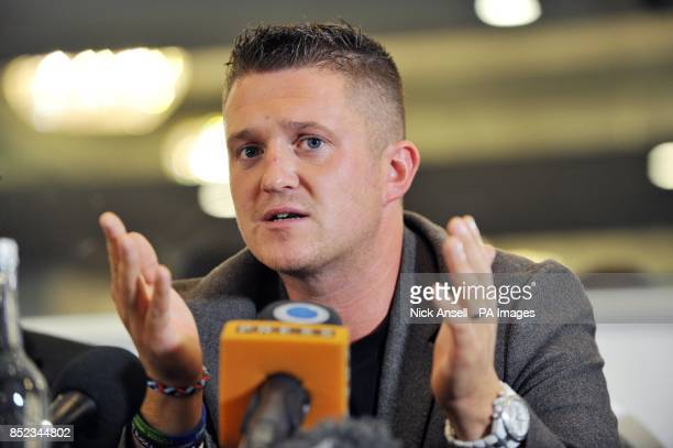 English Defence League leader Tommy Robinson during a press conference at the Montague Hotel central London as he announces that he is to stand down...