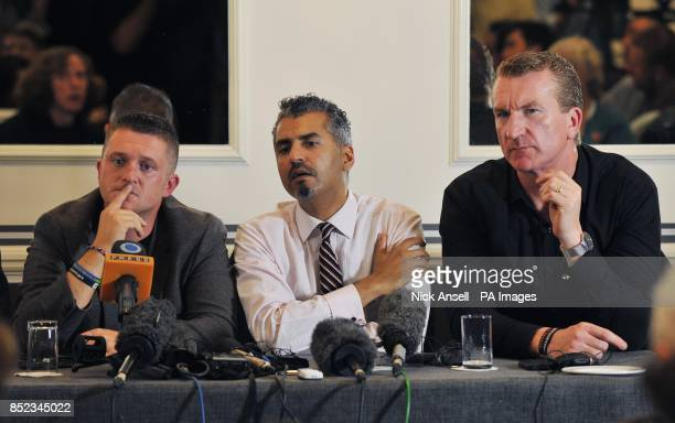 English Defence League leader Tommy Robinson Maajid Nawaz of Quilliam Foundation and English Defence League cofounder Kevin Carroll during a press...