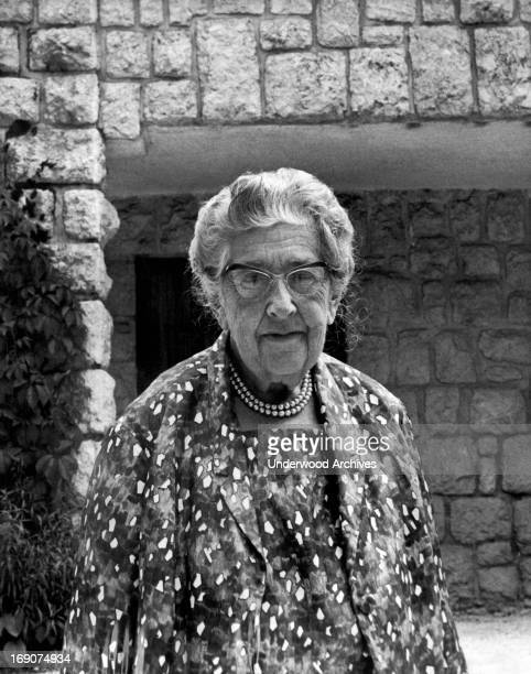 Portrait of English mystery writer Agatha Christie England mid to late 1960s