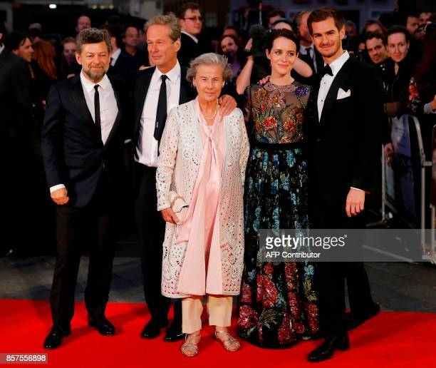 English director Andy Serkis English producer Jonathan Cavendish his mother Diana Blacker English actress Claire Foy and Actor Andrew Garfield pose...