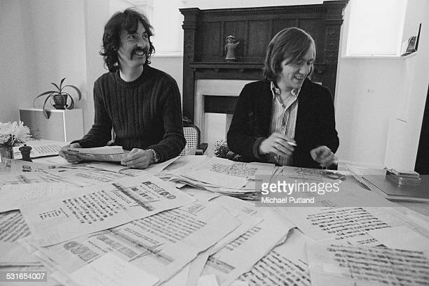 English drummer Nick Mason of rock group Pink Floyd with music journalist Steve Peacock of Sounds magazine 30th October 1974 They are sitting at a...