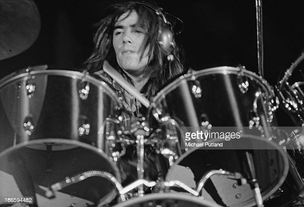 English drummer Nigel Olsson performing at Elton John's Christmas show at the Hammersmith Odeon London 21st December 1973