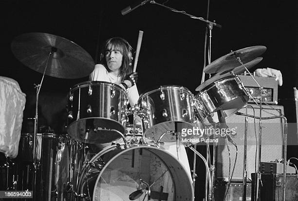 English drummer Nigel Olsson performing with Elton John at the King's Hall Belle Vue Manchester 29th November 1973