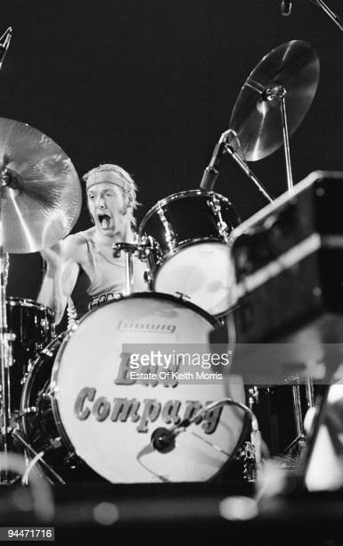English drummer Simon Kirke performs live with Bad Company at Earls Court in London 1978