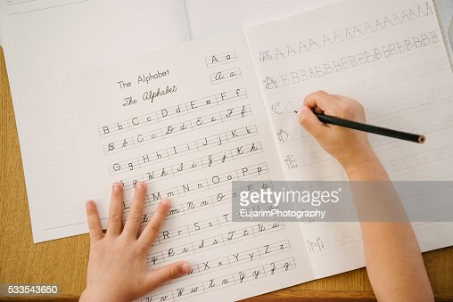 English Education Concept Alphabet Writing Practice On Notebook ...