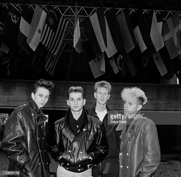 English electropop group Depeche Mode Bologna Italy 27th November 1984 Left to right Alan Wilder singer Dave Gahan Andy Fletcher and Martin Gore