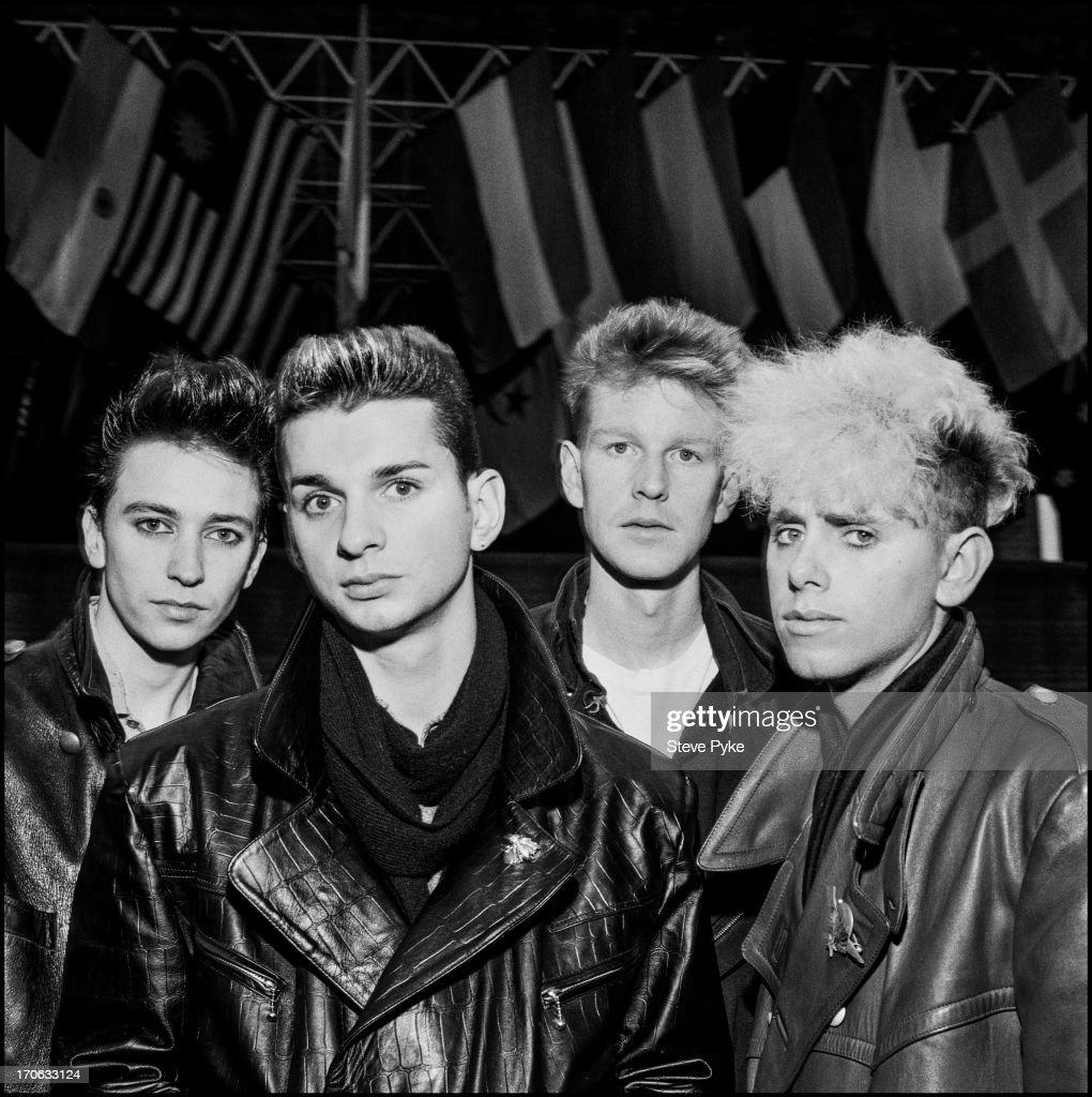 English electropop group Depeche Mode Bologna Italy 27th November 1984 Left to right Alan Wilder singer Dave Gahan Andy Fletcher and Martin Gore