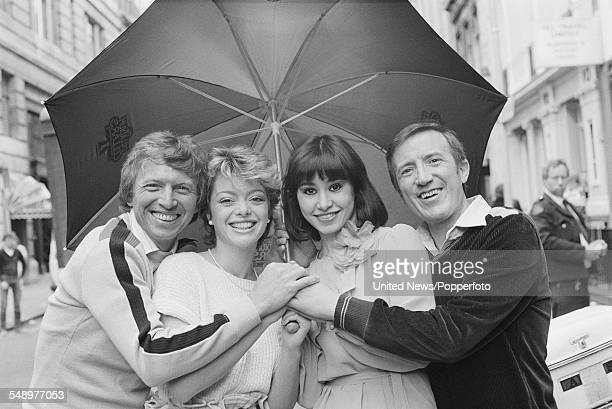 English entertainers actors and singers Tommy Steele Sarah Payne Danielle Carson and Roy Castle who all appear in the West End stage production of...