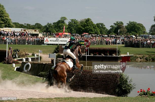 English equestrian Jade Lazenby competes on Master Blaster II during the Cross Country Test at The Lake Complex at the 2007 Mitsubishi Motors...