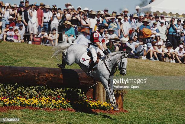 English equestrian Leslie Law competes on Shear H20 for the Great Britain team to finish in second place to win the silver medal in the Team eventing...