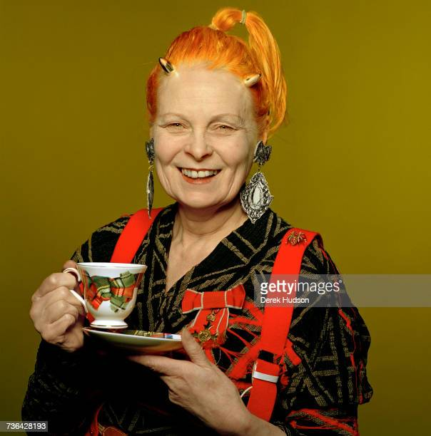 English fashion designer and businesswoman Vivienne Westwood at a retrospective dedicated to her work at the Victoria Albert Museum London