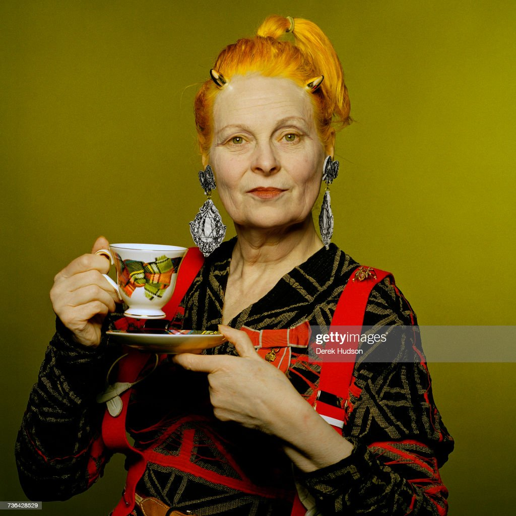 English fashion designer and businesswoman, Vivienne Westwood, at a retrospective dedicated to her work at the Victoria & Albert Museum, London.