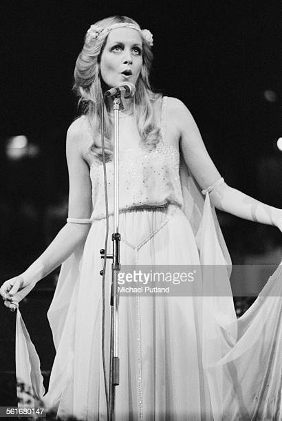 English fashion model and actress Twiggy performing at a oneoff rock opera performance of Roger Glover's concept album 'The Butterfly Ball and the...