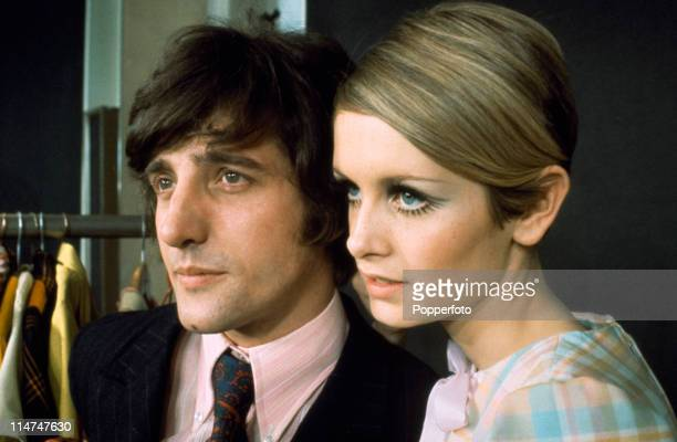 English fashion model Twiggy with her boyfriend and manager Justin de Villeneuve 1967