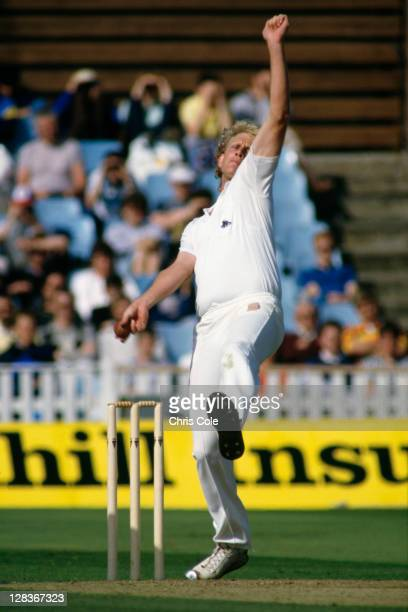 English fast bowler Graham Dilley in action for England against Pakistan in the 4th Test at Edgbaston July 1987