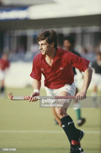 English field hockey player Sean Kerly pictured in action playing for the Great Britain team in a field hockey match in the United Kingdom in 1987