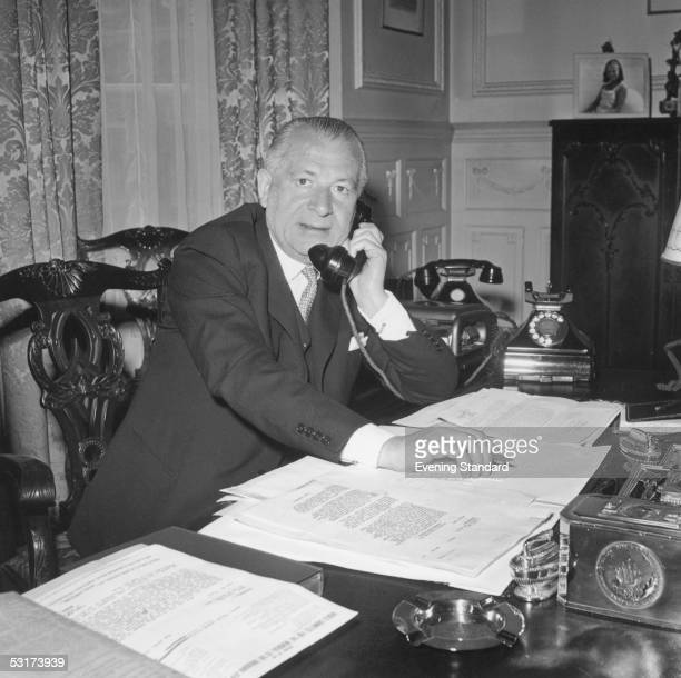 English financier Charles Clore at work in his office on Park Street Mayfair 5th June 1959