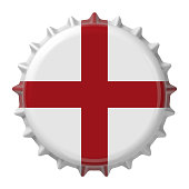English flag on bottle cap. 3D rendering