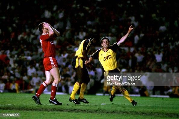English Football League Division One Arsenal v Liverpool Nigel Winterburn turns away in celebration at Michael Thomas' winning goal
