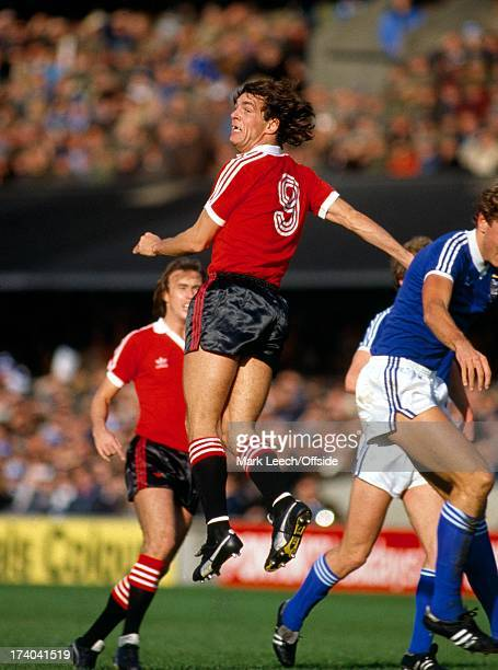 English Football League Division One Ipswich Town v Manchester United Joe Jordan wins the header