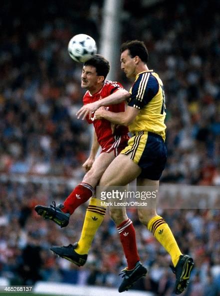 English Football League Division One Liverpool v Arsenal John Aldridge beats Steve Bould to the header