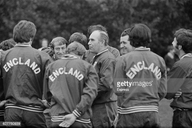 English football manager Alf Ramsey with the England football team during training at Roehampton UK April 1971