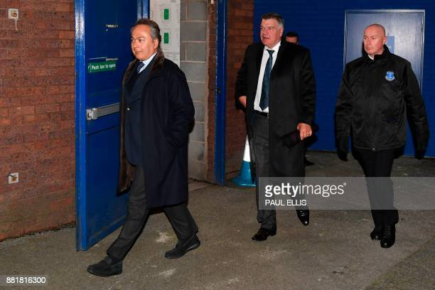 English football manager Sam Allardyce arrives with Everton's Iranian owner Farhad Moshiri at Goodison Park in Liverpool north west England on...