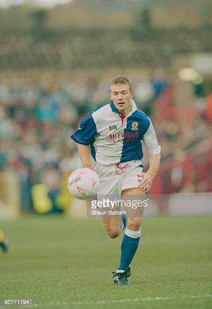 English footballer Alan Shearer playing for Blackburn Rovers in an English Premier League match against Tottenham Hotspur at Ewood Park Blackburn 7th...