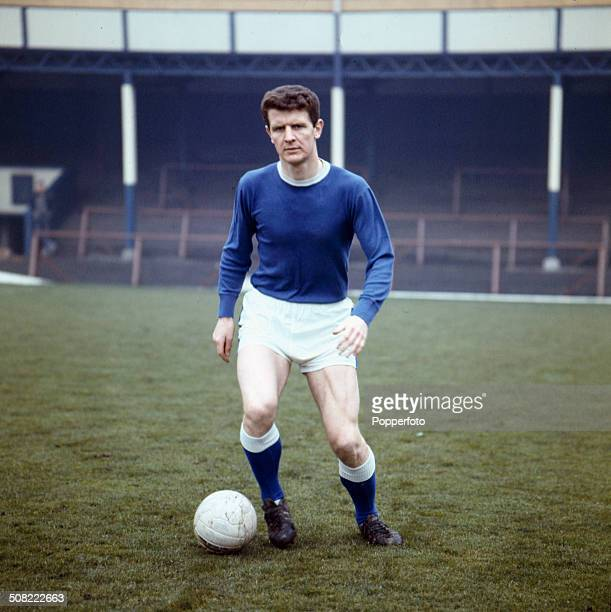 English footballer and captain of Everton Football Club Brian Labone undertakes a training session at Goodison Park football ground in Liverpool in...