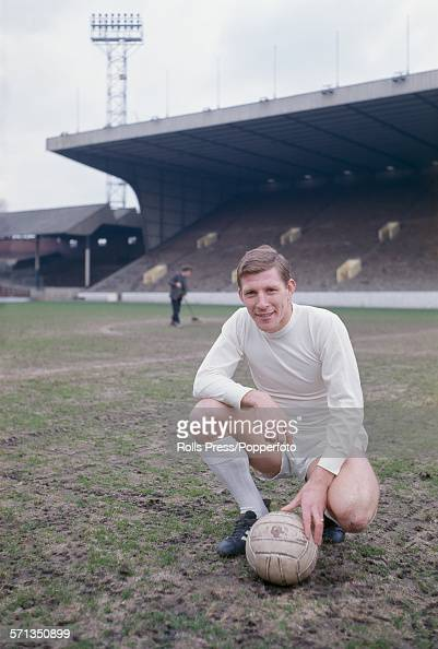 English footballer and captain of Sheffield Wednesday Don Megson posed with a ball on the pitch at Hillsborough Stadium in Sheffield on 27th April...