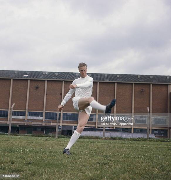 English footballer and centrehalf with Leeds United Jack Charlton pictured during a training session outside Leeds United's Elland Road stadium in...