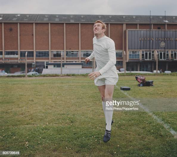 English footballer and forward with Leeds United Mick Jones pictured during a training session outside Leeds United's Elland Road stadium in Leeds in...