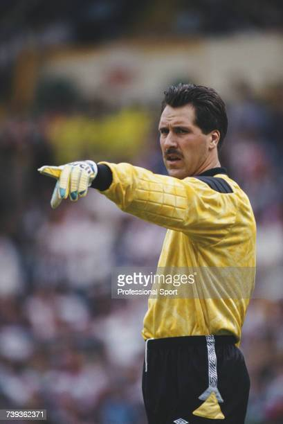 English footballer and goalkeeper with the England national football team David Seaman pictured in action during an England international match circa...