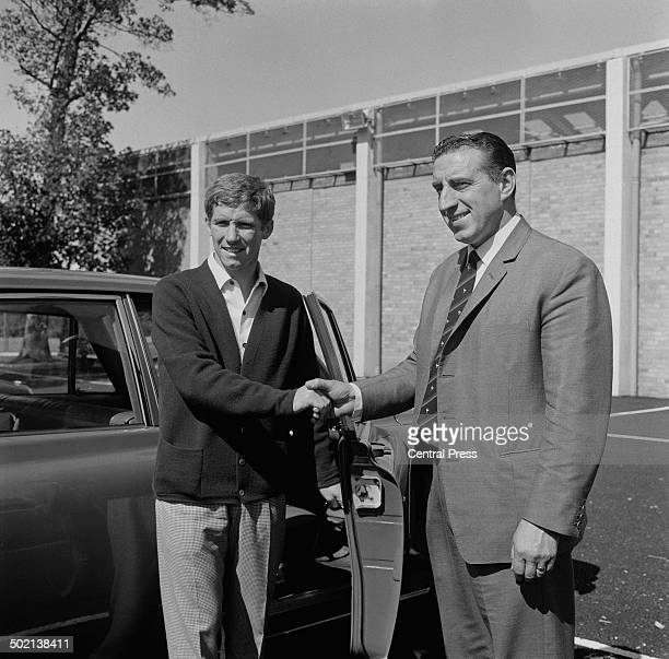 English footballer and manager Alan Ball is greeted by Everton FC manager Harry Catterick on his transfer from Blackpool FC 17th August 1966