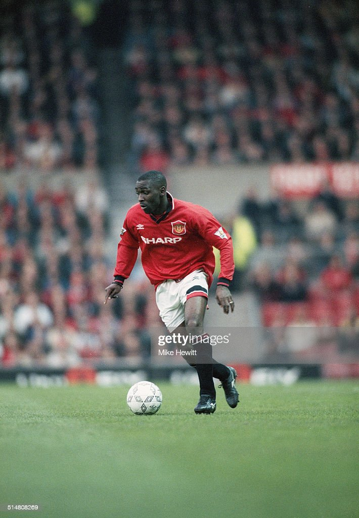 English footballer Andy Cole playing for Manchester United against Southampton, in an English Premier League match at Old Trafford, Manchester, 10th May 1995. Manchester United won the match 2-1.