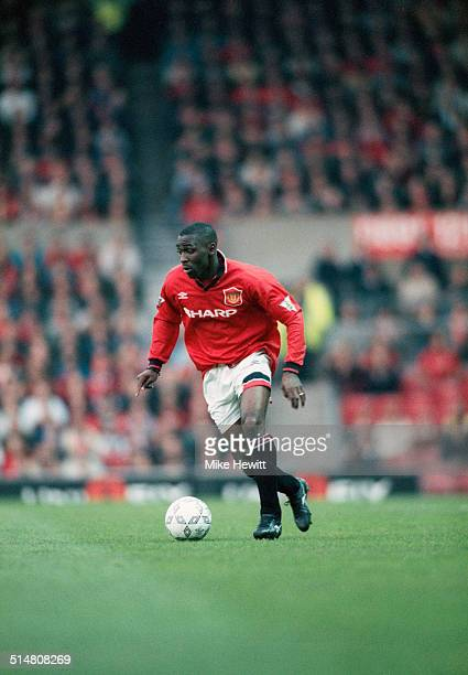 English footballer Andy Cole playing for Manchester United against Southampton in an English Premier League match at Old Trafford Manchester 10th May...