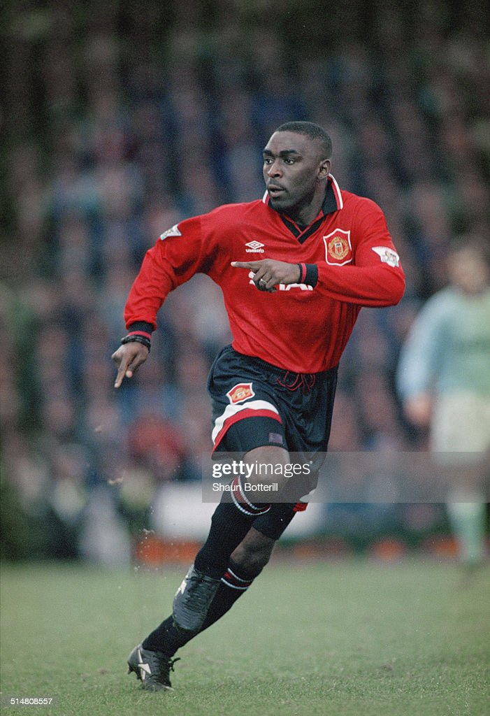 English footballer Andy Cole playing for Manchester United against Manchester City, in an English Premier League match at Maine Road, Manchester, 11th February 1995. United won the match 3-0.