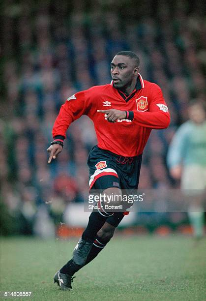 English footballer Andy Cole playing for Manchester United against Manchester City in an English Premier League match at Maine Road Manchester 11th...