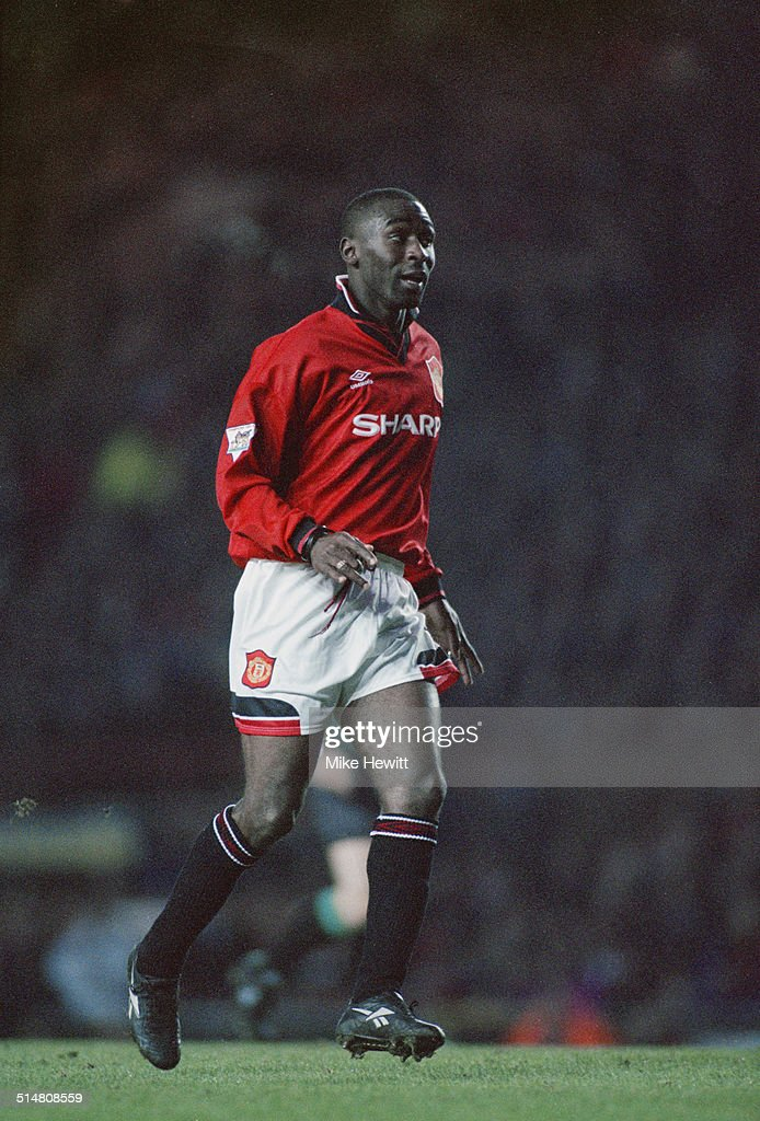 English footballer Andy Cole playing for Manchester United against Blackburn Rovers, in an English Premier League match at Old Trafford, Manchester, 22nd January 1995. United won the match 1-0.