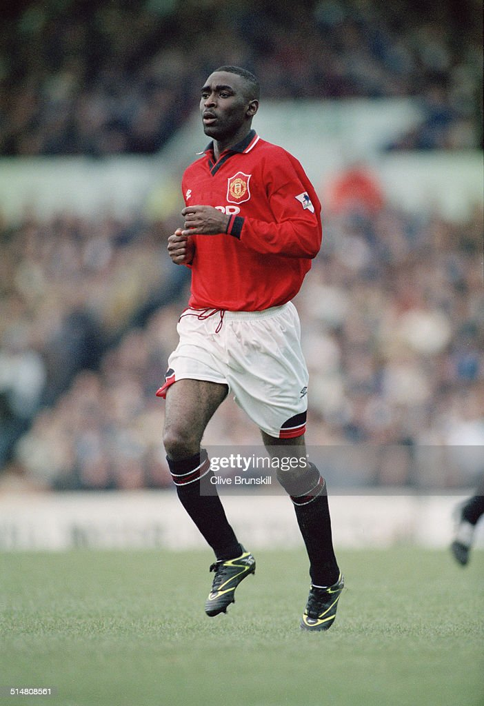English footballer Andy Cole playing for Manchester United against Leeds United, in an English Premier League match at Elland Road, Leeds, 24th December 1995. Leeds won the match 3-1.