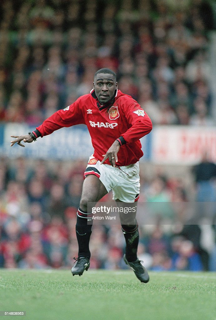 English footballer Andy Cole playing for Manchester United against Ipswich Town in an English Premier League match at Old Trafford, Manchester, 4th March 1995. Manchester United won the match 9-0.