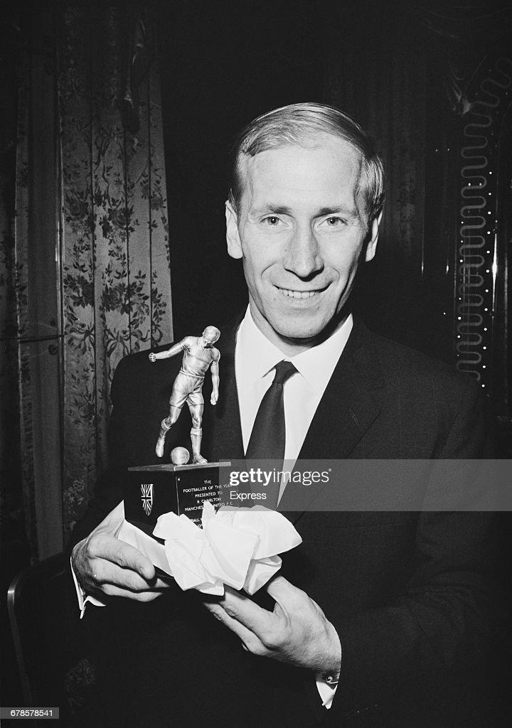 English footballer Bobby Charlton receives the Footballer of the Year Award, UK, 16th May 1966.